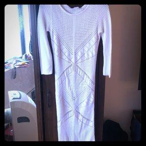 Venus white crochet 3 quarter sleeved dress